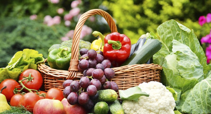 beautiful basket of fruits and vegetables